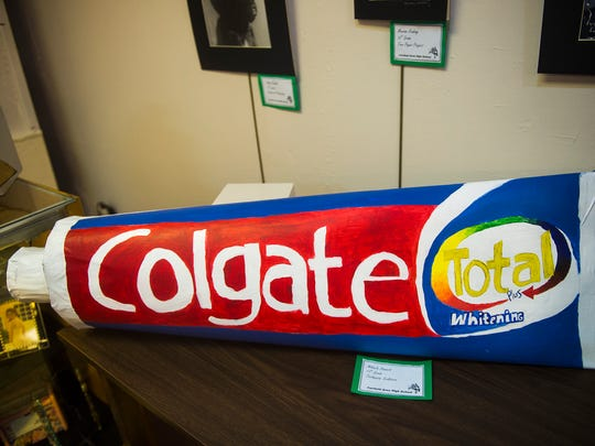A toothpaste sculpture by Fairfield Area High School artist Mikaela Stinnett is displayed at the Hanover Area Arts Guild on March 6, 2016.