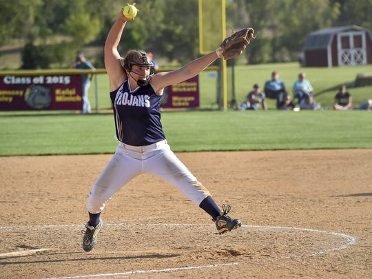 Leah Hunt pitches for Chambersburg during the Mid Penn Conference championships. Although Sam Bender or Laken Myers is expected to start in Tuesday's semifinals against Lower Dauphin, Hunt may get the call for some relief duties.