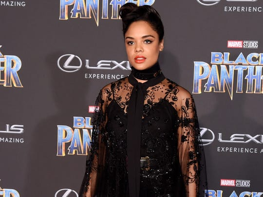 "Actress Tessa Thompson poses at the premiere of the film ""Black Panther"" at The Dolby Theatre on Jan. 29, 2018, in Los Angeles."