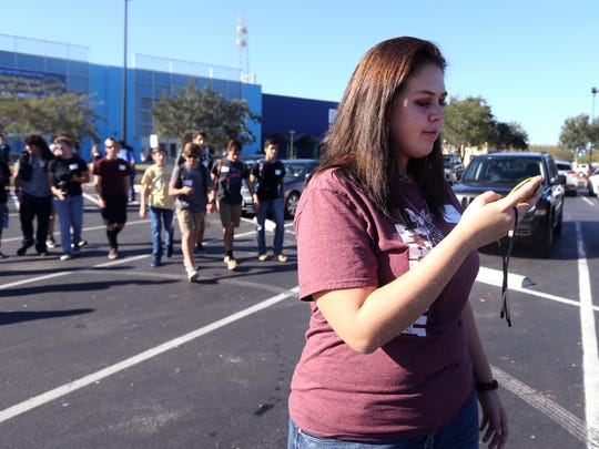 Caitlyn Cummings, 16, a student from Flour Bluff High School, tries to find a point on a GPS system on Wednesday, Nov. 16, 2016 during the Map Your Career with Geographic Information Systems event at the Del Mar College Economic Development Center. About 800 students from across the Coastal Bend attended the event.