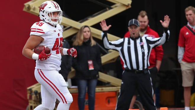 Badgers fullback Alec Ingold has 11 touchdowns on 77 carries the past three seasons. He also has three receiving touchdowns.