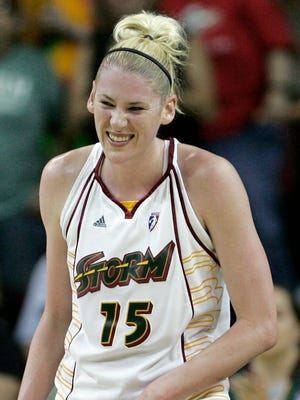 Seattle Storm's Lauren Jackson smiles briefly after scoring her 4,000th career point, during the second quarter of a WNBA basketball game against the Indiana Fever on Friday, July 27, 2007, in Seattle. Jackson spent her whole 12-year career with the Storm, winning the WNBA MVP three times.