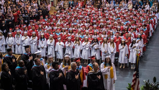 Nearly 300 seniors from Richmond High School received their diploma during the school's 147th commencement ceremony at the Tiernan Center on Sunday, June 10, 2018.