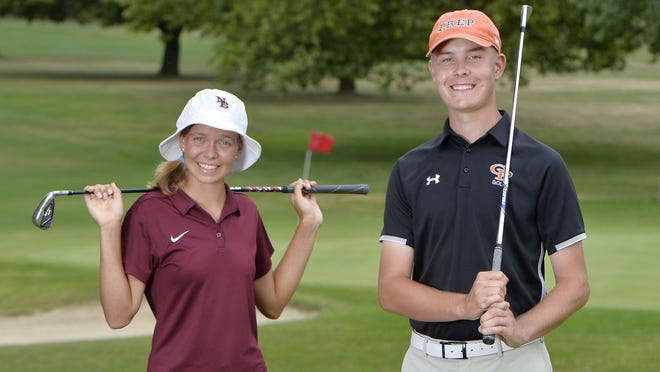 North East junior Lydia Swan, left, and Cathedral Prep senior Evan Rowane, the reigning District 10 golfers of the year, are shown at Downing Golf Course on Wednesday. Both have been selected as the Erie Times-News Preseason Players of the Year.