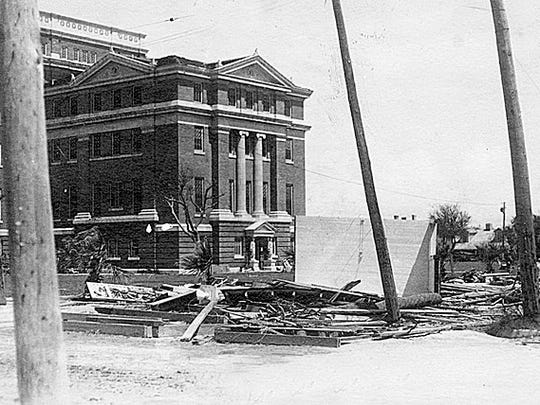 The Old Nueces County Courthouse after 1914 hurricane