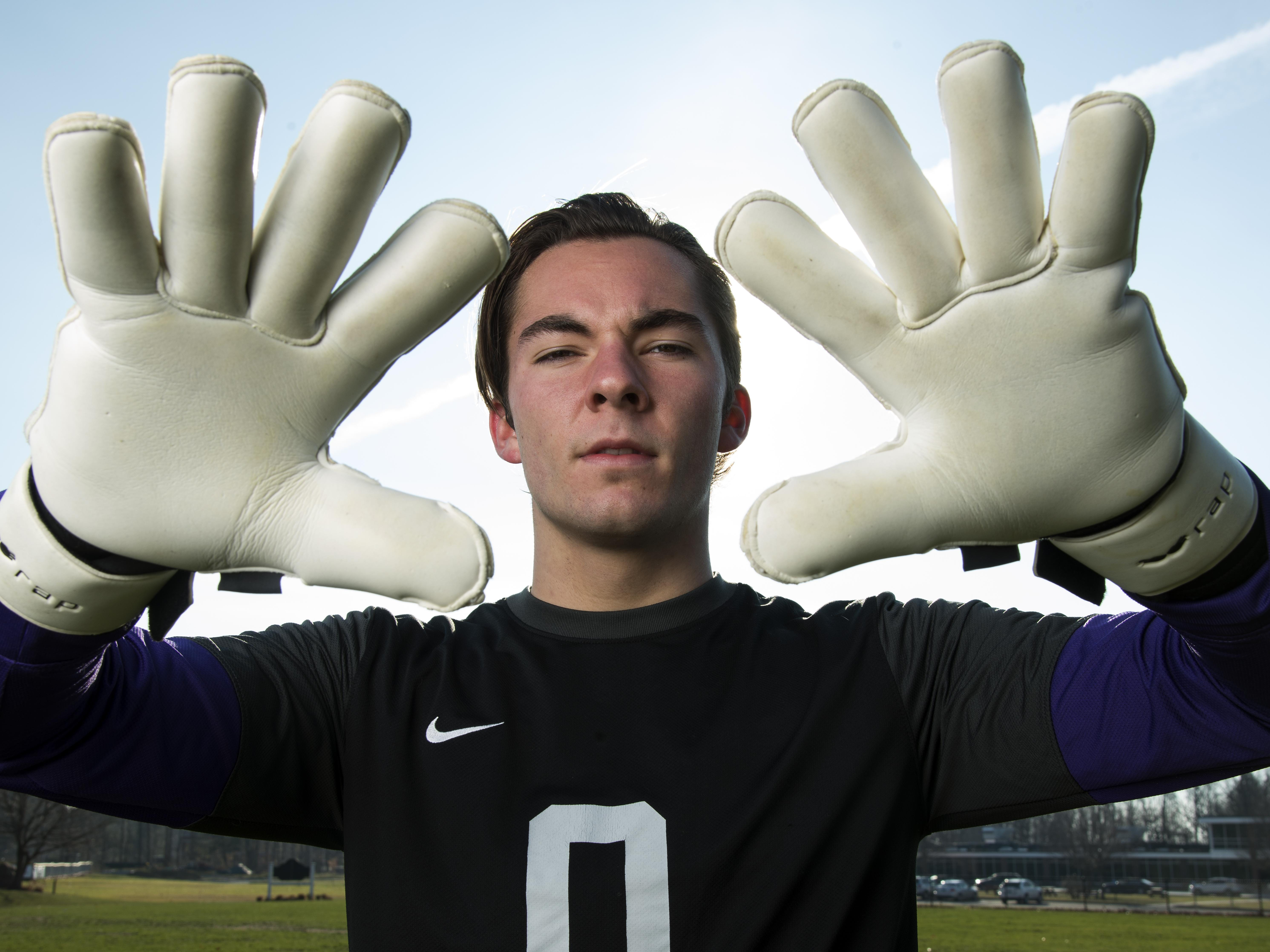 Rice goalie Leland Gazo poses for a portrait at Rice Memorial High School last week. Gazo was the Free Press boys soccer player of the year.