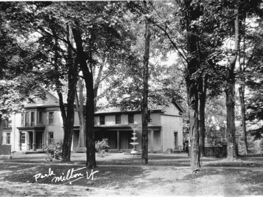 Shown here is the stately Main Street residence of Joseph Clark. The building later served as Milton's town offices until 1994 when a new building was built across town on Bombardier Road. The building then reverted to descendants of Clark who sold it to private owners. It operated as a restaurant for a number of years before turning back into a residence.