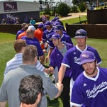 Members of Northwestern State's 1995 Southland Conference championship team mingle with the NSU baseball team Saturday during alumni weekend.