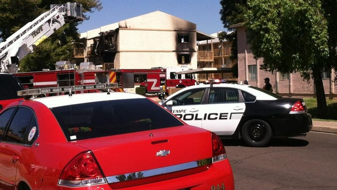 Tempe, Mesa and Scottsdale emergency crews responded to an apartment fire near University and McClintock drives at about 9:30 a.m. Tuesday.
