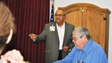 New interim CEO Alfredo Ontiveros met with department directors at Gila Regional on his first day on the job.