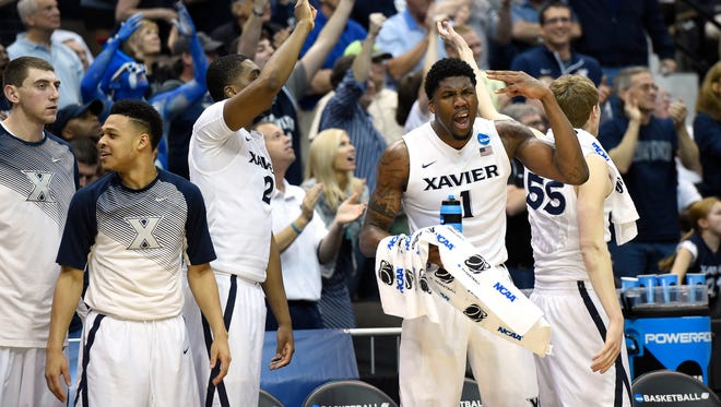 The Xavier bench reacts in the game vs. Georgia State in the NCAA Tournament.