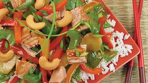 Teriyaki Cashew Tuna replaces chicken in the stir-fry classic.