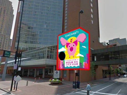 """""""Dream Big and Fly High"""" for the Flying Pig Marathon's 20th anniversary. The mural, by Sara Cormier, will go on the west side of the Hyatt Regency Hotel at Fifth and Elm streets Downtown."""