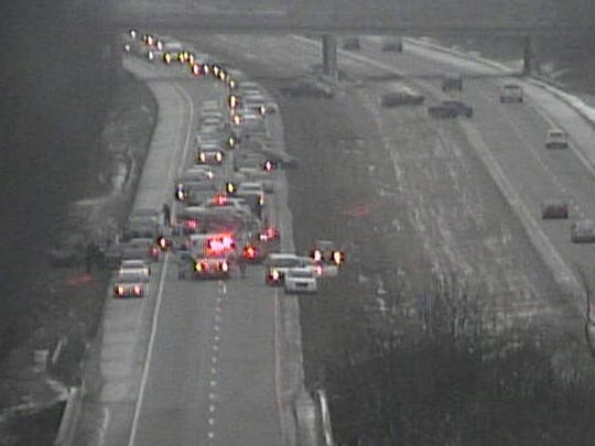 Interstate 74 was closed Friday due to an accident.