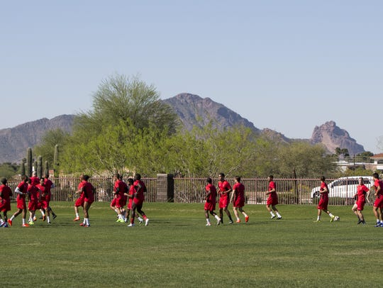 The Phoenix Rising FC soccer team practices at the
