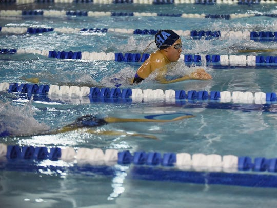 Big North boys & girls Swimming Championship at Passaic County Technical Institute in Wayne, NJ on Thursday, Feb. 02, 2017. IHA's Gigi Baquerizo wins the Heat 2 of 2 women's 100 yard breaststroke.