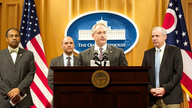 "The ""Four Wisemen"" who inked the redistricting agreement: Rep. Vernon Sykes, D-Akron; Sen. Joe Schiavoni, D-Boardman; Sen. Keith Faber, R-Celina; Rep. Matt Huffman, R-Lima."