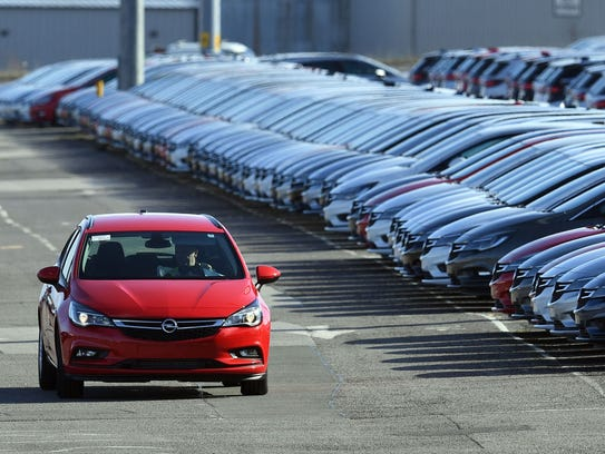 Opel cars are prepared for distribution at Vauxhall's