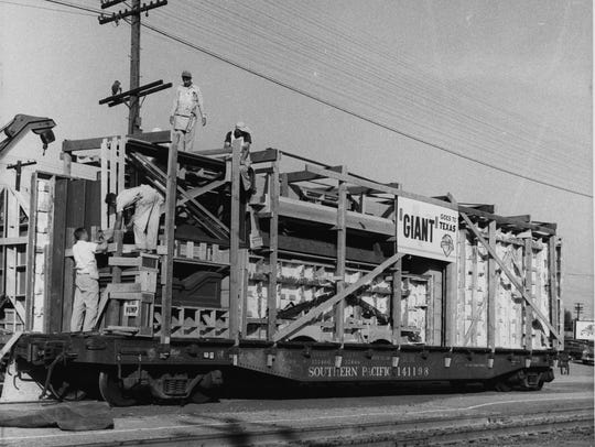 A train car used to transport equipment from Los Angeles