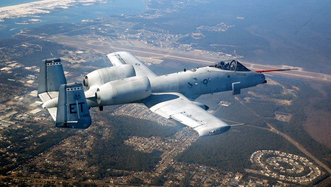 "An A-10 ""Warthog"" in flight."