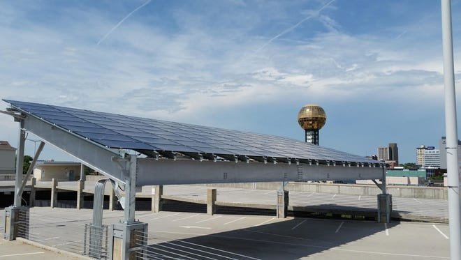 Solar panels on the University of Tennessee campus.