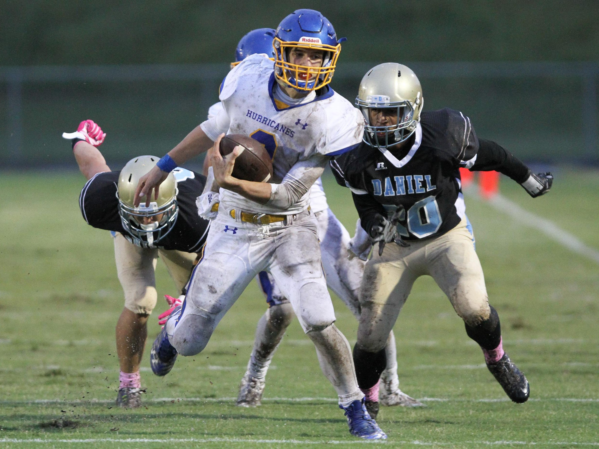 Wren quarterback Jay Urich (3) rushes for a touchdown against host Daniel on Friday night.