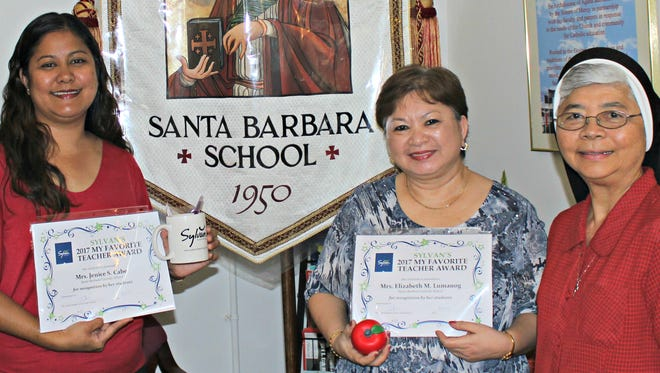 """Congratulations to Santa Barbara Catholic School teachers who have been selected as favorites by their students at the Sylvan Learning Center table at Agana Shopping Center's A-Club event. Each school was visited by Sylvan's Director, Crystal Nelson. In honor of their dedication towards education, each teacher was presented with a """"My Favorite Teacher"""" certificate and an educational donation of free skills assessments and robotic class coupons to share with their students on Feb. 27. Pictured, from left: Crystal Nelson (Sylvan Learning Center Director), Mrs. Jenice Cabe, Mrs. Elizabeth Lumanog, Sister Jeanette Marie Pangelinan (Principal)"""