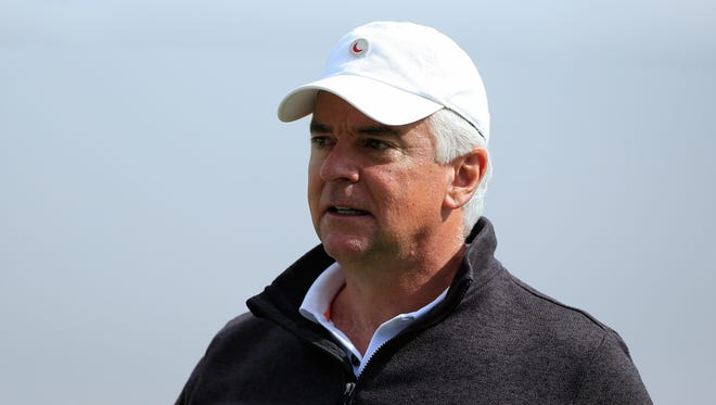 Celebrity golfer John O'Hurley looks on during the second round of the BMW Charity Pro-Am on May 16.