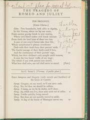 An annotated copy of 'Romeo and Juliet' marked up by
