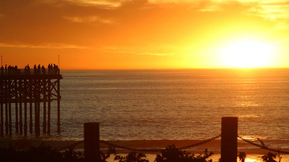 Sunset at Pacific Beach in San Diego.