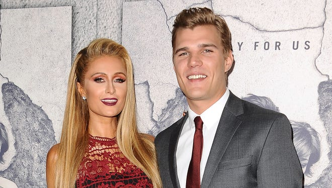 Paris Hilton and Chris Zylka attend the season 3 premiere of 'The Leftovers' on April 4, 2017 in Los Angeles.
