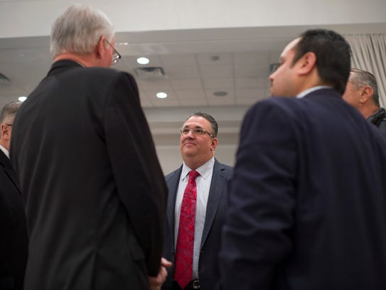 Vineland Mayor Anthony Fanucci speaks with guests following