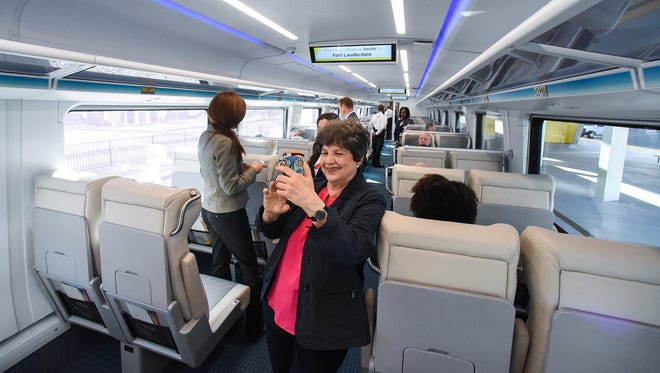 U.S. Congresswoman Lois Frankel takes a selfie aboard Brightline's introductory trip between West Palm Beach and Fort Lauderdale on Jan. 12, 2018, during an invitation-only media preview ride beginning and ending at the Brightline West Palm Beach station. Brightline is selling tickets and passes both online and on its mobile app and will begin service for the general public beginning Saturday, Jan. 13. To see more photos, go to TCPalm.com.