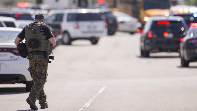 A large law enforcement presence outside a shooting at or near Noblesville West Middle School, Noblesville, Friday, May 25, 2018. One person is reportedly in custody.