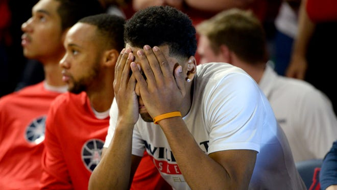 Jan 5, 2017: Arizona Wildcats guard Allonzo Trier (35) sits on the bench before the game against the Utah Utes at McKale Center. Arizona won 66-56.