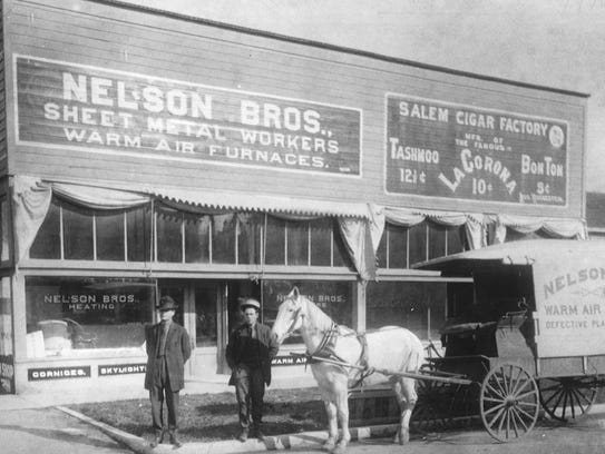 The Nelson Bros. sheet metal and furnace shop, circa