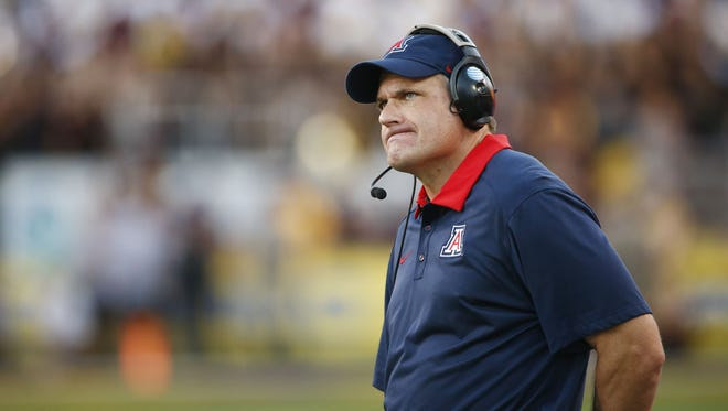Arizona head coach Rich Rodriguez reacts after Arizona State intercepted a pass and returned it for a touchdown in the fourth quarter during the 89th Territorial Cup on Nov. 21, 2015 in Tempe, Ariz.