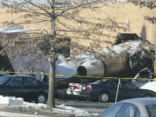 A plane crashed into the Strawberry clothing factory after takeoff from Teterboro Airport on Feb. 2, 2005.