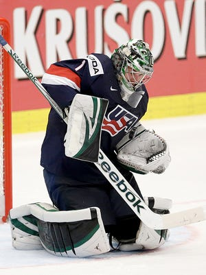 Jack Campbell makes a save against Russia on Monday.