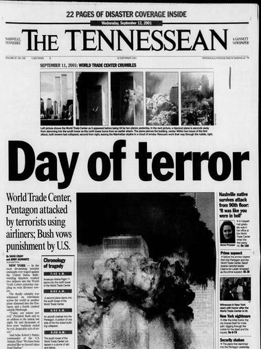 The Tennessean from Sept. 12, 2001, the day after the