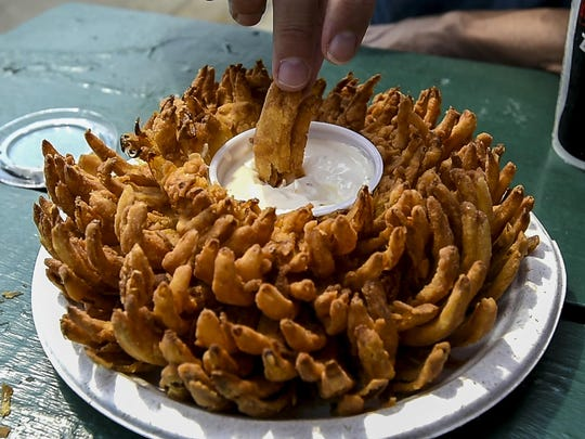 A bloomin' onion at the Champlain Valley Fair in Essex Junction on Monday.