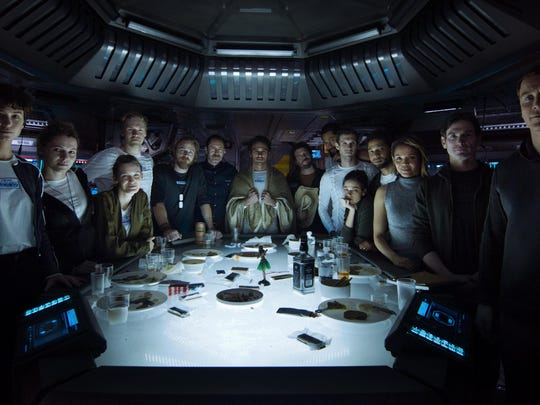 "The crew gathers in ""Alien: Covenant."""