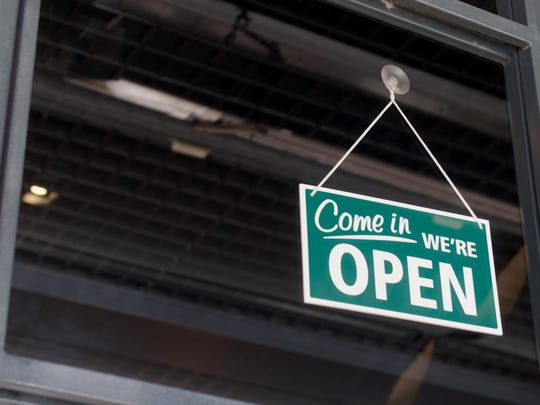 Open sign on the shop's window