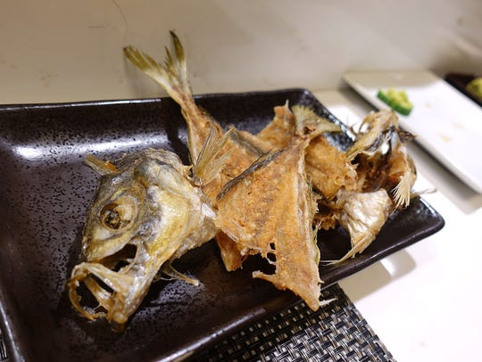 Fried aji (Spanish mackerel) bones at Sushi Nakano