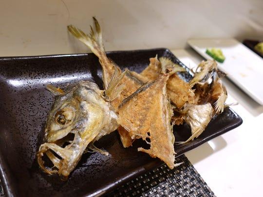 Fried aji (Spanish mackerel) bones at Sushi Nakano