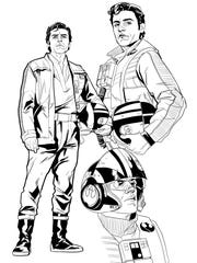 Poe Dameron sketches by artist Phil Noto.