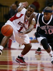 Brandon Hall (right) playing for Saint Peter's in 2008.