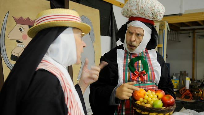 """Joan Anderson scolds Brad Busse on Thursday, Oct. 29, at the Great Northern Theatre Company dress rehearsal for """"Nuncrackers"""" the musical."""