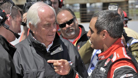 Roger Penske talks with 2015 Indianapolis 500 winner