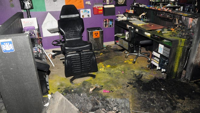 A tattoo station inside Irish Ink Tattoo, at 2245 Main St., was destroyed after a Molotov cocktail was launched into the building in August 2012. Irish Ink reopened six months later, but is now located at 2225 E. Lohman Ave.